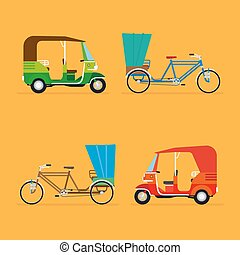Indian rickshaw. Auto rickshaw and pedicab. Travel transport...