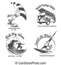 Vintage surfing labels and badges set. Ocean wave,...
