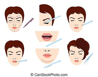 Facial cosmetic surgery icons - Facial cosmetic surgery...