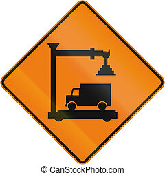 Weigh Station Ahead in Canada - TemporaryWorks road sign in...