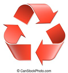 Recycling symbol red - Recycling Symbol colored red on white...