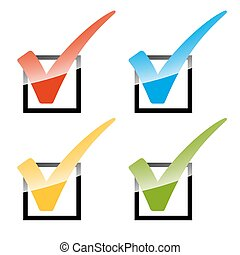 Set of colored checks - collection of colored Checks in four...