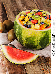 Fruit salad - Delicious fruit salad on the table