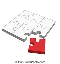 Puzzle 3D - does not fit - three dimensional puzzle with one...