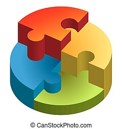 Puzzle 3D chart - three dimensional Puzzle showing chart in...