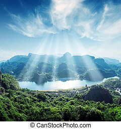 mountain and blue sky - Aerial view of the river and...