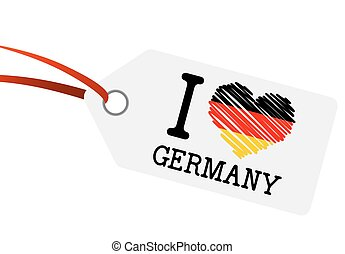 hangtag with text quot; I LOVE GERMANY quot; - white hangtag...