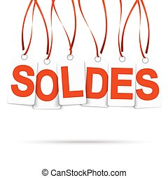 Six white hangtags with SOLDES - Six white hang tags with...