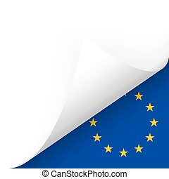 Paper - bottom corner - Country flag of EU - Paper bottom...
