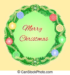 Merry Christmas advent wreath with garnishes vector.eps -...