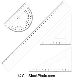 Set - Rulers Triangular transparent - Set of school...