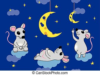Mice admire the moon - Mice sitting on the clouds admire the...