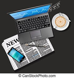 Stock market graph on laptop screen and mobile phone with newspaper