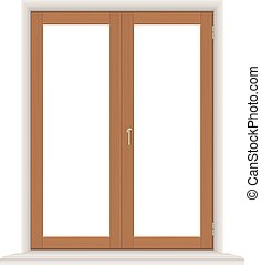 simple wooden window - window; glass; wood; wooden; vector;...