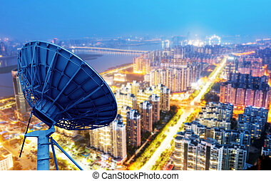Dish and city views - picture of parabolic satellite dish...