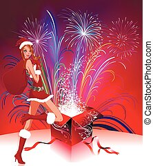 lady santa claus with fireworks - Pyrotechnics from Lady...
