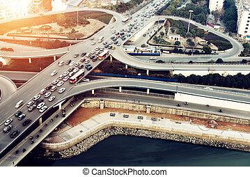 Aerial transport hub overpass