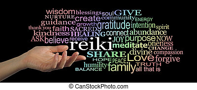 Sharing Reiki Word Cloud - Female hand facing upwards,...