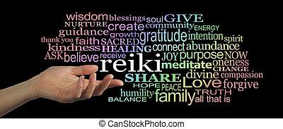 compartilhar, palavra,  Reiki, nuvem