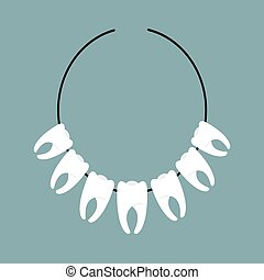 Necklace of teeth Decoration on neck of Indians Mascot for...