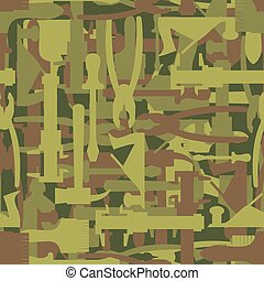 Army pattern tool. Military camouflage texture Vector of hammer, Paintbrush and screwdriver. Hunter, soldiers protective seamless pattern of military builders.