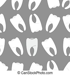 White teeth on a grey background seamless pattern. Ornament...