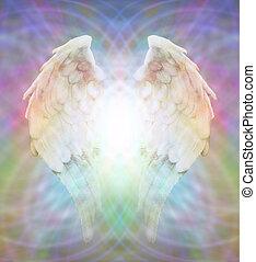 Angel Wings on matrix field - Angel wings with light flowing...