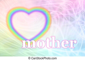Mothering Sunday Rainbow Heart - Pastel colored swirling...