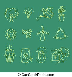 Ecology organic icons eco and bio elements in hand drawn style nature planet protection care recycling save concept