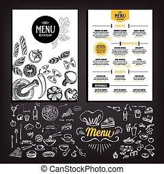 Restaurant cafe menu, template design. Food flyer. -...