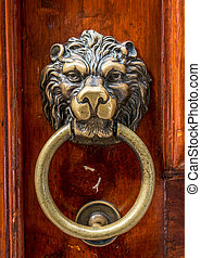Lion head knocker on an old wooden door