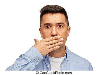rosto, de, homem, cobertura, seu, boca, com, mão, palma,