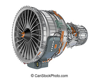 Jet fan engine on white background - Jet fan engine isolated...
