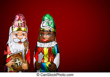 Sinterklaas and Zwarte Piet. Dutch chocolate figurine -...