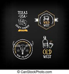 Wild west badges design. Vintage western elements.Vector...