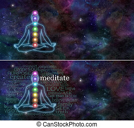 Cosmic Chakra Meditation - Deep space background with the...