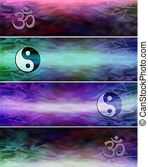 4 x holistic website banners - Two yin yang symbol website...