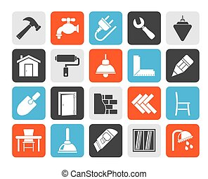 home renovation icons - Silhouette Building and home...