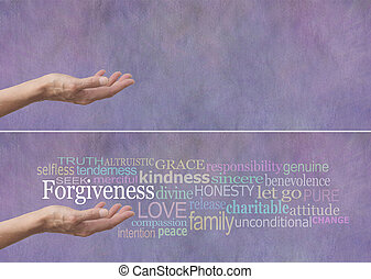 Forgiveness Word Cloud Banner - Female hand outstretched...