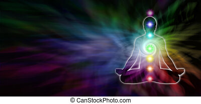 Chakra Meditation Website Header - Wide dark banner with a...