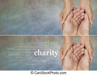 Hands of hope - Two identical banners one with a Charity...