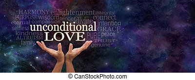 Unconditional Love Word Cloud - Female hands reaching up...