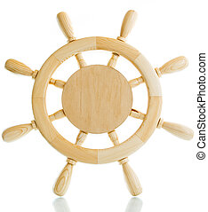 Decorative wooden steering wheel on a white background