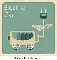 Electric car. Flat retro style concept. Vector illustration