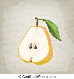 Half of the pear with leaf. Vector illustration