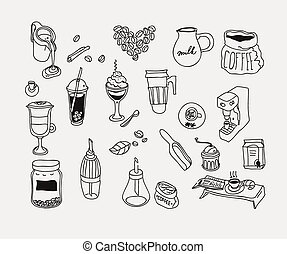 Hand drawn sketch doodle vintage simple coffee theme. - Hand...