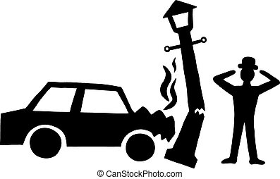 Car accident - Ink image of car accident with lamppost