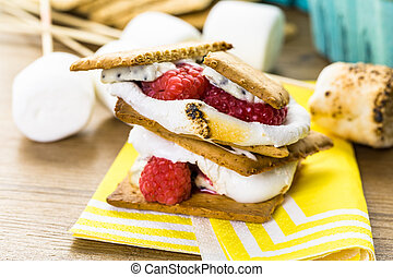 Smores with white chocolate and fresh raspberries
