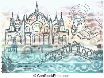venice. abstract silhouette of city on multicolor background