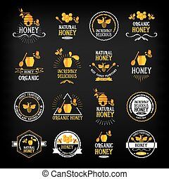 Honey badge and label. Abstract bee design.Vector with...